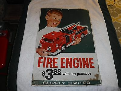 1950's Texaco Fire Chief Fire Engine Cardboard Sign Displayed at Gas Station