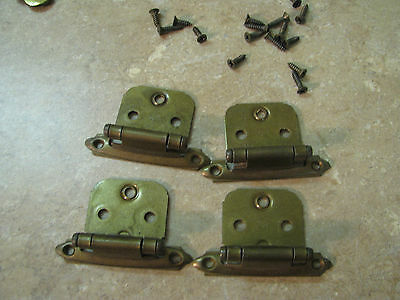 ANTIQUE/VINTAGE Brass Heavyweight SPRING LOADED HINGES Cabinet/Furniture LOT/4