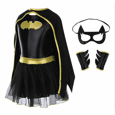 New Batgirl Girl's Fancy Dress Up Halloween Kids Superhero Batman Costume Outfit