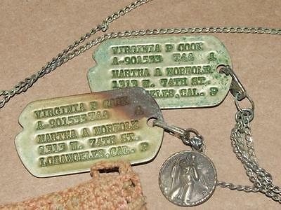 VTG WWII US Army Dog Tags Virginia Cook w/ Sterling Christopher Trench Art Pouch