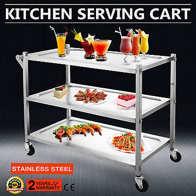 3 Tier Stainless Steel Catering Cart Rolling Utility Servic Trolley Shelf Handle