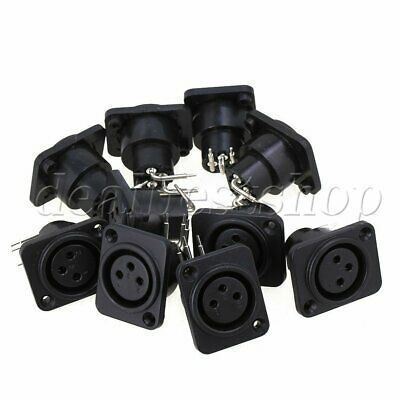 10pcs Female Chassis Socket 3-Pin XLR Jack Panel Mount Non-Latching Connector