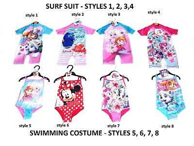 Girls Character Childrens Kids Swimming Costume Suit Surf Swimsuit Ages 18m - 6