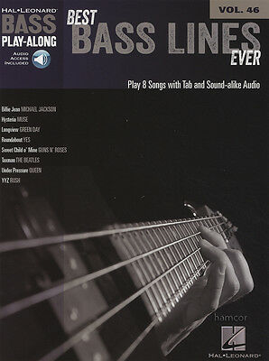 Best Bass Lines Ever Play-Along Vol 46 TAB Sheet Music Book/DLC Muse Green Day