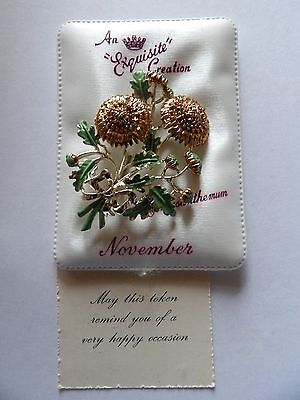 Vintage exquisite birthday brooch Chrysanthemum for November with romance card