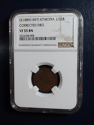 1889 (1897) Ethiopia NGC VF35 BN 1/32Birr CORRECTED DIES Coin PRICED TO SELL NOW