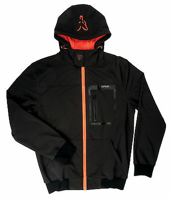 Fox Black Orange Softshell Hoody Soft Shell Pullover Pulli Kapuzenpullover