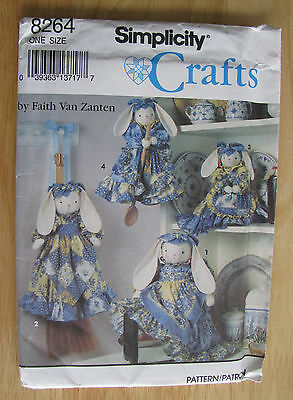 0991 Simplicity Craft Pattern #8264 Dressed Bunny by Faith Van Zanten  Uncut