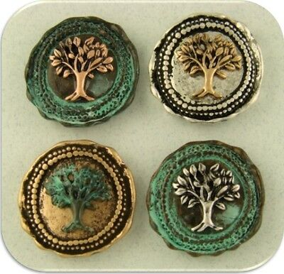2 Hole Beads Tree of Life Wax Seals Silver Copper Gold Verdigris 4T SlidersQTY 4
