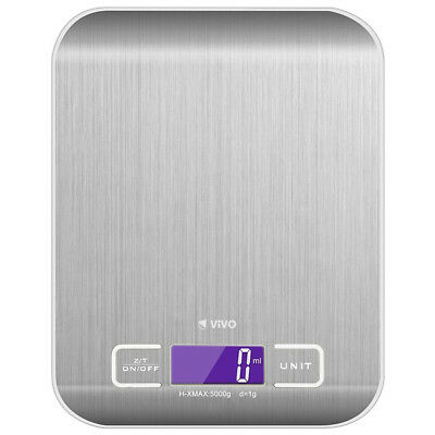 Portable Compact Slim Stainless Steel Kitchen Scales Large Digital LCD Easy Read