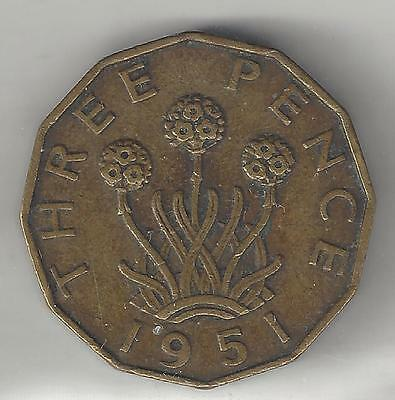 Great Britain, 1951,  3 Pence,  Nickel-Brass,  Km#873,  Extra Fine