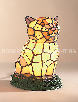 "Tiffany Stained Glass, Cat Table Lamp  "" Bulb Included""  AT5"