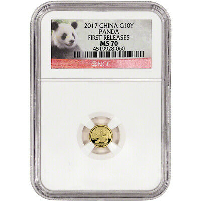 2017 China Gold Panda (1 g) 10 Yuan - NGC MS70 - First Releases - Panda Label