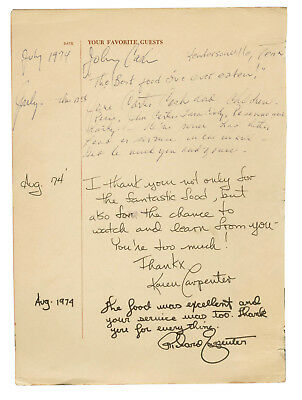 Johnny, June Cash and The Carpenters (4) Signed Favorite Guest Sheet BAS #A00305