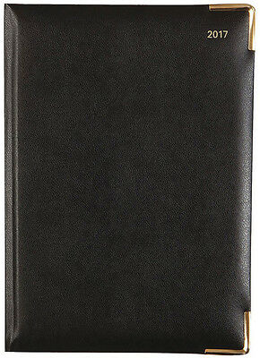 Letts of London 2017 Classic Daily Planner Agenda with Gold Corners - Black