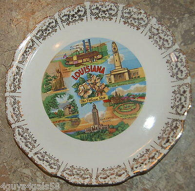 Collector Plate LOUISIANA The Pelican State WAR MEMORIAL TOWER Capitol Bldg