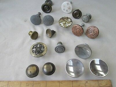 "18 Vintage Asst'd. DRAWER & DOOR KNOBS,Metal, Brass, C.1950's, 7/8"" - 1 9/16""D."