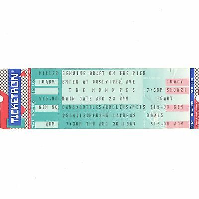 THE MONKEES Concert Ticket Stub NEW YORK NY 8/20/87 THE PIER DAYDREAM BELIEVER