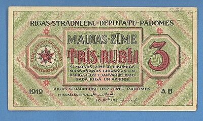 LATVIA LETTLAND 3 RUBLES 1919s P. # R2 3660