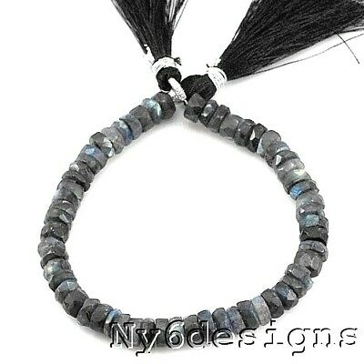 """*7x3mm AAA+ Natural Shinny Labradorite Faceted Rondelle Beads 8""""(LA58)a"""