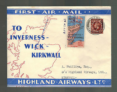 1934 England First Flight Cover Kirkwall Inverness Highland Airways FFC