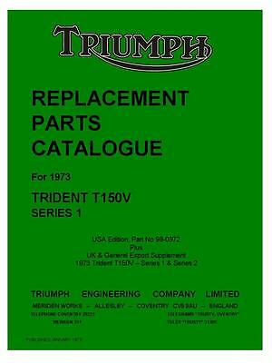 Triumph Trident T150V 1973 Replacement Parts Catalogue Manual Motorcycle on CD