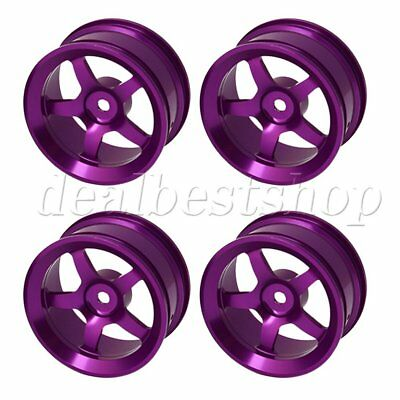 4 PCS Aluminum Alloy RC 1:10 On-road Racing Car Purple Color Wheel Rims With 5-S