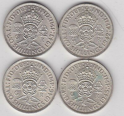 1942/1943/1945 & 1946 George Vi 50% Silver Florins In High Grade