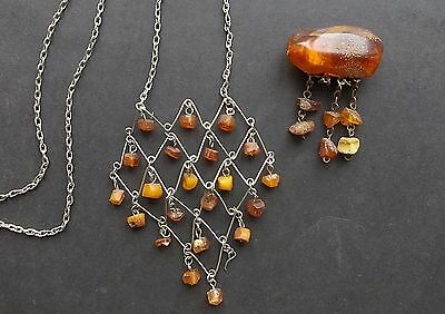 genuine antique Baltic amber brooch and pendant honey color