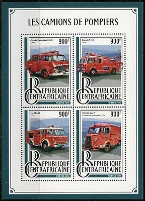 Central Africa  2016 Fire Engines  Sheet  Mint Nh
