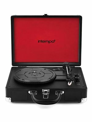Intempo Black Bluetooth Turntable Retro Portable Suitcase Vinyl Record Player