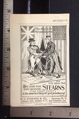 1896 Ad Steams Bicycle Smartest Uncle Sam Patriotic  (N14)