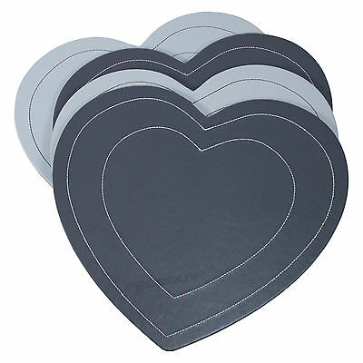 Set of 8 Grey Heart Placemats Table Place Settings Mats Reversible Faux Leather