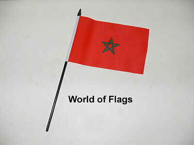 """MOROCCO SMALL HAND WAVING FLAG 6"""" x 4"""" Moroccan Africa Crafts Table Desk Display"""