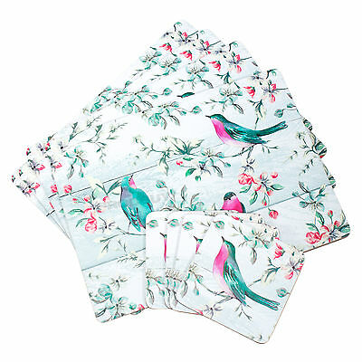 Set of 4 Cork Placemats & Coasters Table Settings Mats Shabby Chic Floral Birds