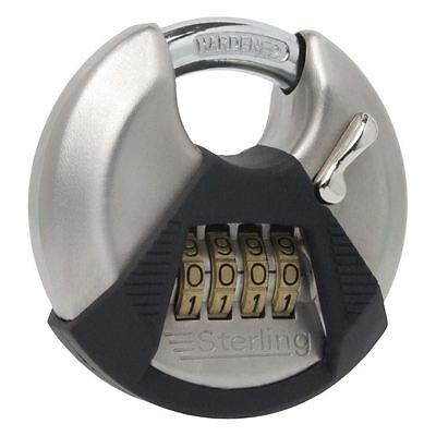 "Sterling 70mm / 2"" Closed Shackle Disc Padlock 4 Dial Combination Lock Security"
