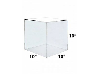 Acrylic Clear 5 Sided Cubes Risers Displays Boxes 10x10x10 Choice of Color