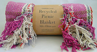 Country Club Recycled Cotton Picnic Blanket Throw Travel 120x150cm Magenta Pink