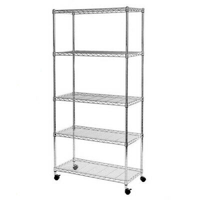 5 Tier Heavy Duty Steel Kitchen Garage Storage Shelving Shelf Rack UKDC