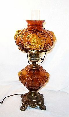 Dark Amber FENTON Four Sided Puffy Cherub Face Glass GWTW Hurricane Table Lamp