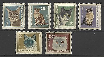 BULGARIA # 1588-1593 Used CATS DOMESTIC PETS