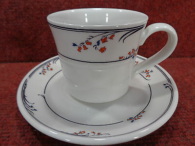 """ROYAL DOULTON FRESH FLOWERS """" GREENWICH """" Red & Blue Floral TEA CUP & SAUCER"""