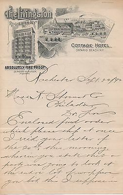 1892 Graphic Letterhead from Livingston Hotel Rochester & Ontario Beach NY