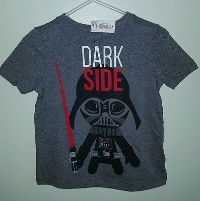 NWT Old Navy Boys 12-18 MONTHS T-Shirt STAR WARS Gray DARTH VADER Tee    #321616