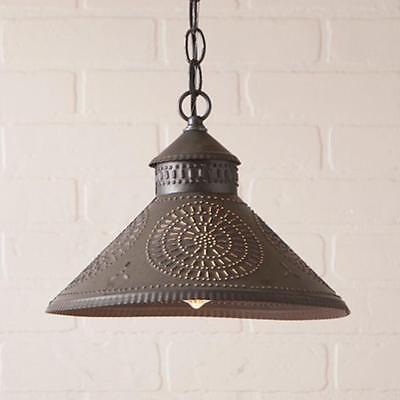 Primitive new KETTLE BLACK punched tin shade hanging ceiling light/ nice