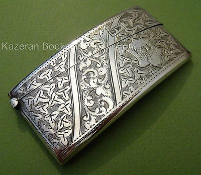 Antique Edwardian Solid Silver Curved Card Case By Walker & Hall 1901