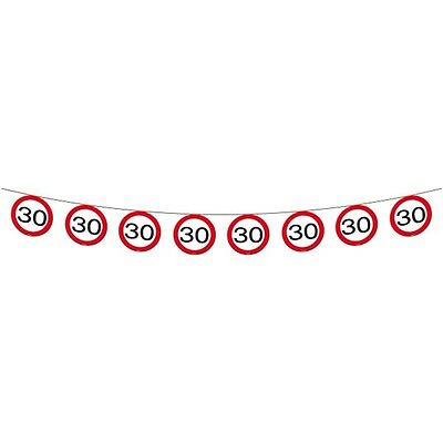 Traffic Sign 30th Banner 12m - Birthday Party Decoration 30 Garland