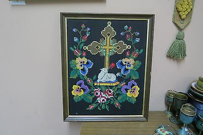 """Antique Fine Arts & Crafts Embroidery Tapestry Religious Cross 15""""x20"""" Christian"""