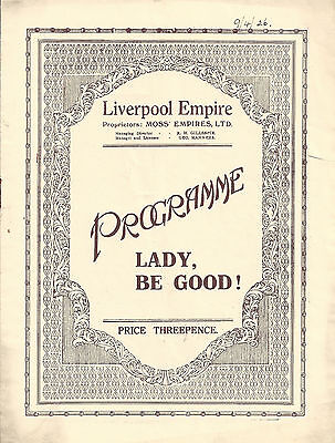 """George Gershwin """"LADY, BE GOOD!"""" Fred and Adele Astaire 1926 Liverpool Tryout"""