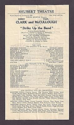 """George Gershwin """"STRIKE UP THE BAND"""" Clark & McCullough 1930 Tryout Broadside"""